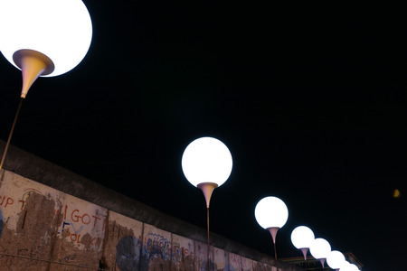25th: drawn up balloons for the light installation light limit  before the 25th anniversary of the Berlin Wall - Reststueck the Berlin Wall at the memorial site Topography of Terror , November 8, 2014 in Berlin-Mitte.