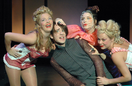"""2 november: Kathrin Osterode, Daniel Jeroma, Sonia Hausseguy, Laura Leyh - musical and theater production  """"Schoene Neue Welt """" (from a novel by Aldous Huxley, directed by Matthias Davids), Grips Theater, Premiere (UA) on 2 November 2006, Berlin-Tiergarte"""
