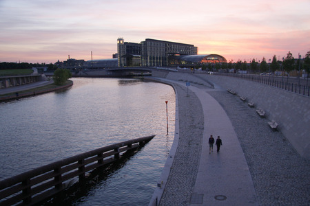 "spree: JULY 2009 - BERLIN: the main train station ( ""Hauptbahnhof ""), river Spree, Berlin."
