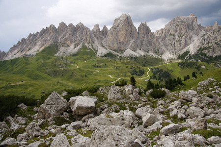 odle: Seen Odle, Puezspitzen from the yoke of Groedner, Dolomites, Italy. Editorial