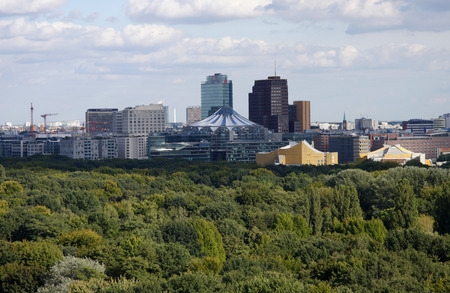 September 2012 - BERLIN: aerial image: high rise buildings of the Potsdamer Platz, Berlin-Tiergarten.