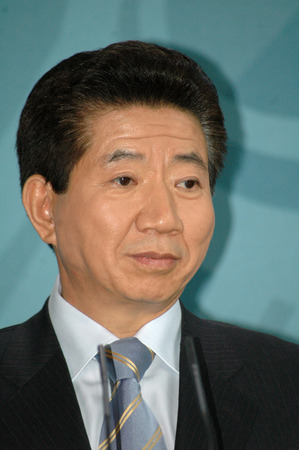 sued: the South Korean President Roh Moo Hyun on 13 April 2005 at the Federal Chancellery, Berlin-Tirgarten. Editorial