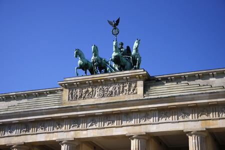 quadriga: OCTOBER 2010 - BERLIN: the Brandenburg Gate Quadriga of the at the Pariser Platz in the middle district of Berlin.