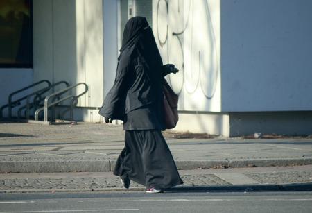 burka: Woman in burqa, Berlin.