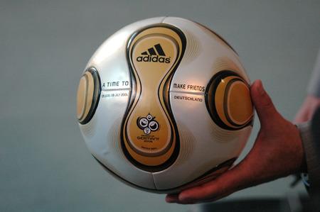 football world cup: the  final ball  - transfer of the final ball  the Football World Cup, July 6, 2006 Federal Chancellery, Berlin-Tiergarten.