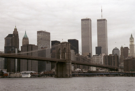 world trade center: JULY 1995 - NEW YORK: the skyline of Manhattan with the Twin Towers of the World Trade Center and the Brooklyn Bridge, Manhattan, New York. Editorial