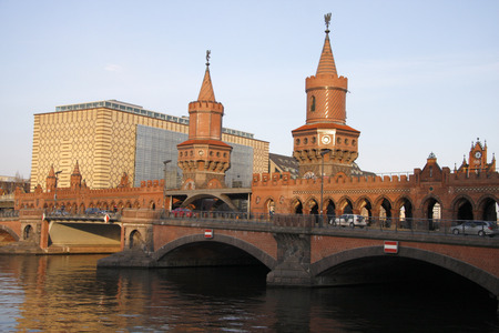 spree: MARCH 2008 - BERLIN: the Oberbaumbruecke (Upper tree bridge), river Spree, Berlin. Editorial
