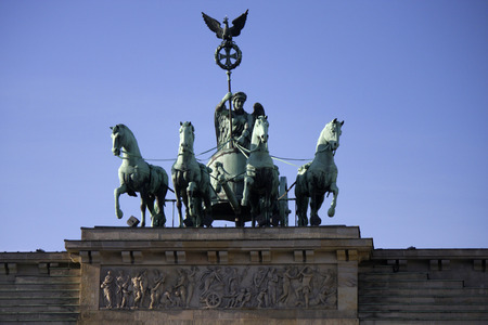 quadriga: Quadriga, Brandenburg Gate, Nov. 2013 Berlin. Editorial