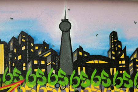 graffity: Berlin skyline as an abstract graffity, Berlin-Wedding.
