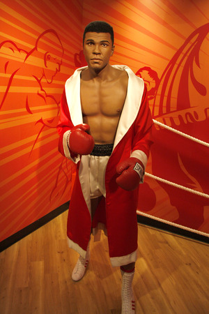 clay: Muhammad Ali aka Cassius Clay - wax figure at Madame Tussauds, July 10th 2008, Unter den Linden, Berlin-Mitte.