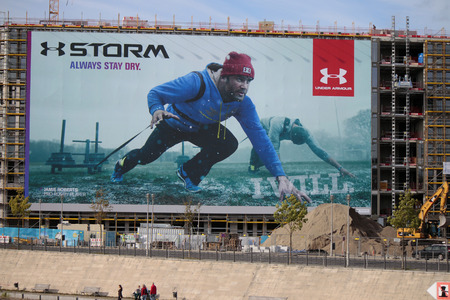 roberts: Great poster with advertising for the company  Storm  Under Armor with the rugby star Jamie Roberts, Berlin.