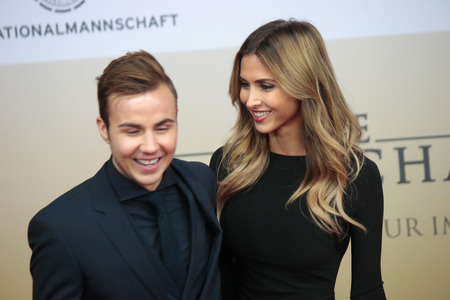 mario: Mario Goetze, Ann-Kathrin Brommel - premiere of the film by the winning the Football World Cup 2014  The team  Sony Center, November 10, 2014 in Berlin. Editorial