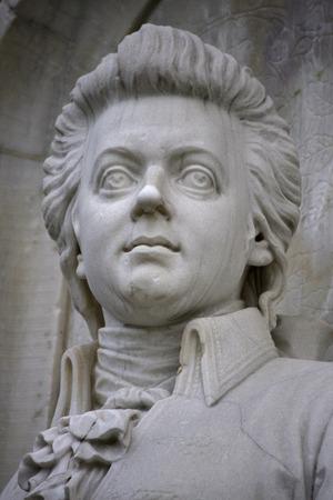 composers: Wolfgang Amadeus Mozart sculpture, composers Memorial, Tiergarten, December 12, 2013 Berlin-Tiergarten. Editorial