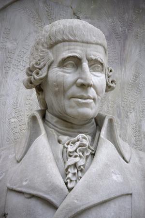 composers: Joseph Haydn sculpture, composers Memorial, Tiergarten, December 12, 2013 in Berlin.