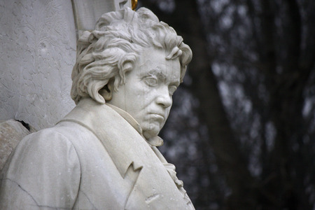 beethoven: Ludwig van Beethoven sculpture, composers Memorial, Tiergarten, December 12, 2013 Berlin-Tiergarten. Editorial