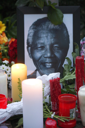 mandela: Mourning for Nelson Mandela: flowers, candles and pictures in the South African Embassy, ??December 12, 2013 in Berlin. Editorial