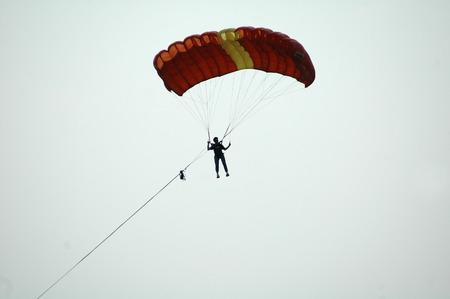 paraglider: OCTOBER 2006 - BERLIN: a paraglider at the Teufelsberg in Berlin.