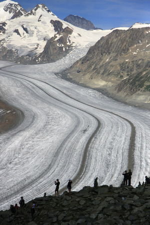 eiger: Aletsch Glacier Eiger, Moench and Jungfrau, Canton of Valais, Switzerland. Editorial