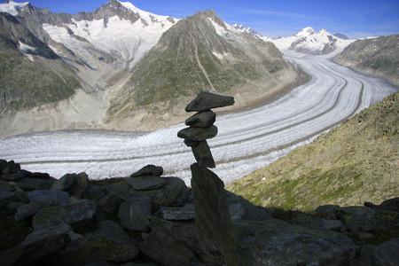 valais: Aletsch Glacier Eiger, Moench and Jungfrau, Canton of Valais, Switzerland. Editorial