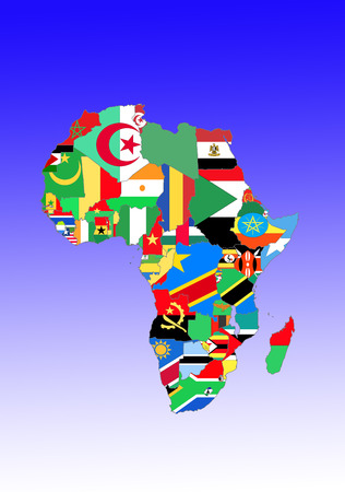 africa outline: Icon image: Africa: countries outlines with flags  symbolic image: Africa: outline and flags.