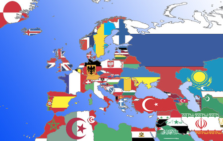 africa outline: Symbolic picture: Eruopa, Middle East and North Africa: countries outlines with flags  symbolic image: Europe, Middle East and North Africa: outline and flags.