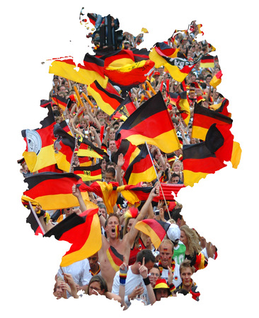 jubilation: Icon image: Federal Republic of Germany: outline with countries flag and cheering football fans  symbolic image: Federal Republic of Germany: outline and flag with soccer fans cheering. Stock Photo
