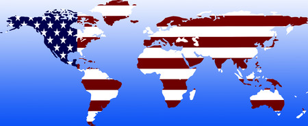 superpower: Symbolic: US superpower: outline with countries flag  symbolic image: super power USA: outline and flag.