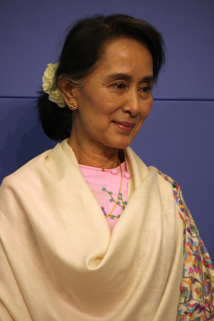 laureate: Aung San Suu Kyi - Press conference of Oppositionsfuehrerin Burma (Myanmar) and Peace Prize laureate, April 12, 2014 in Berlin.