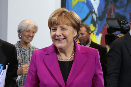 christine: Christine Lagarde, BKin Angela Merkel and others - meeting between the Chancellor and the President of international economic and financial organizations, Federal Chancellery, March 11, 2015 in Berlin. Editorial