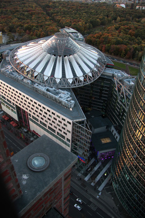 sony: Aerial view: Sony Center, Potsdamer Platz, Berlin-Tiergarten. Editorial