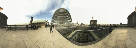 foster: 360 degree panorama: On the roof of the redesigned by the British star architect Sir Norman Foster Reichstag building, Berlin-Tiergarten.