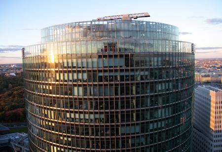 Aerial: DB Hochhau, Sony Center, Potsdamer Platz, Berlin-Tiergarten.