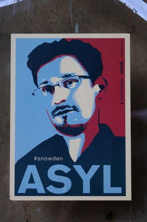 whistleblower: Edward Snowden stickers, Berlin-Kreuzberg.
