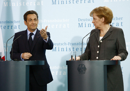 ministers: Nicolas Sarkozy, Angela Merkel - Press Under direction after meeting the Franco-German Council of Ministers, the Federal Chancellery  Chanclery, March 12, 2009, Berlin-Tiergarten. Editorial