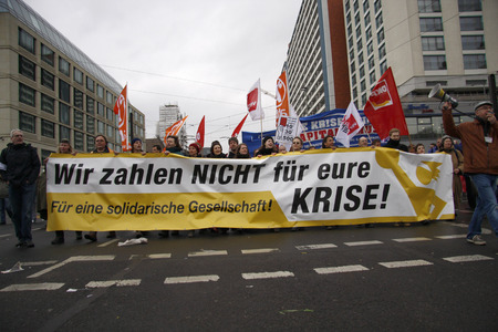 "pay for:  ""We will not pay for your crisis "" - Impressions of the Demonstration  ""We will not pay for your crisis "", 28 March 2009, Berlin-Mitte Editorial"
