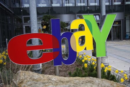 ebay: ebay logo at the Germany headquarters of the company Editorial