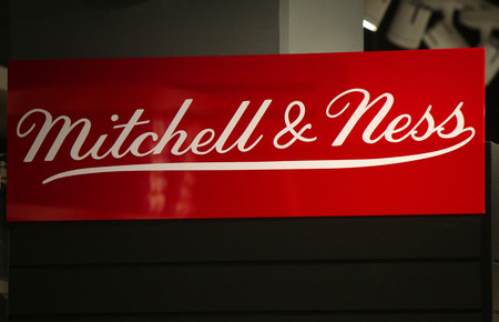 "ness: Brand names:  ""Mitchell and Ness "", Berlin. Editorial"