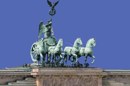 quadriga: The Gate Quadriga on the Brandenburg Gate The Quadriga on the Brandenburg Berlin. Stock Photo