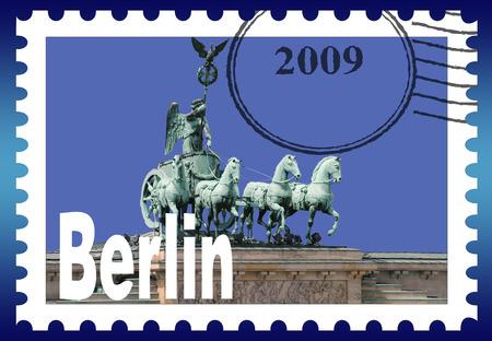 quadriga: Symbolic stamp: the Quadriga on the Brandenburg Gate stamp symbolic image: the gate Quadriga on the Brandenburg Berlin.