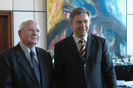 gorbachev: the former Soviet head of state Mikhail Gorbachev and the Governing Mayor of Berlin Klaus Wowereit on 20 December 2004 in Berlin. Editorial