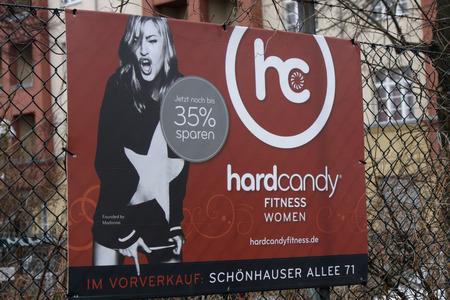 hard candy: Ads run by Madonna gym chain Hard Candy, December 2013 Berlin. Editorial