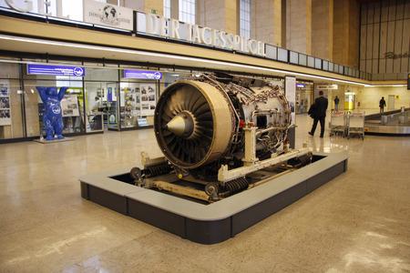 issued: issued aircraft turbine at the lobby of Tempelhof airport, Berlin-Tempelhof. Editorial