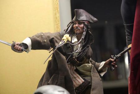 Abbildung der Piratenkapitaens quotCaptain Jack Sparrowquot Johnny Depp in quotPirates des Caribbeanquot.