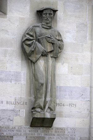 heinrich: Sculpture Relief: Heinrich Bullinger - Grossmuenster, Zurich, Switzerland.