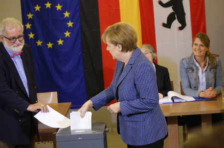 chancellor: BKin Angela Merkel - Chancellor of the vote in the European elections, May 25, 2014 Berlin. Editorial