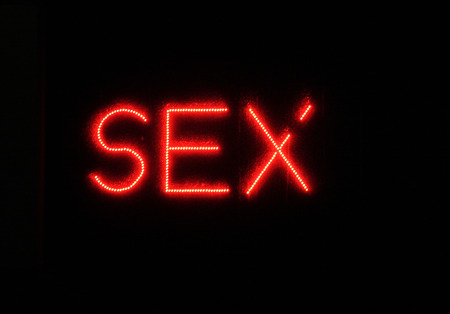 brothel: SEX - neon signs, December 16, 2013, Berlin-Tiergarten.