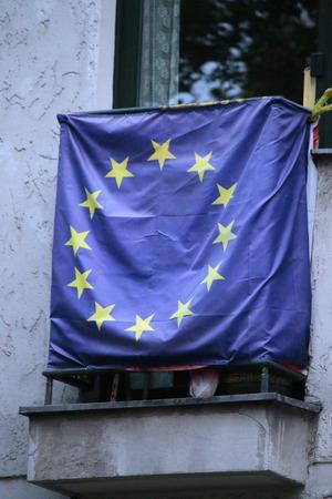 european union: a European Union flag, Berlin.