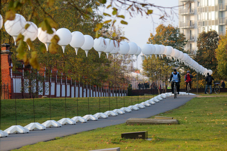 25th: drawn up balloons for the light installation Light border before the 25th anniversary of the Berlin Wall, November 7, 2014 Berlin.