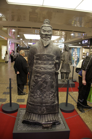 huang: the Chinese emperor Qin Shi Huang - copies of the Chinese Terracotta Armeee, terra cotta warriors, to May 2014, Gesundbrunnen Center, Berlin-Wedding.