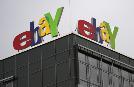 ebay: eBay logo at the German hedqurters of The Internet Company ebay in Kleinmachnow, near Berlin. Editorial